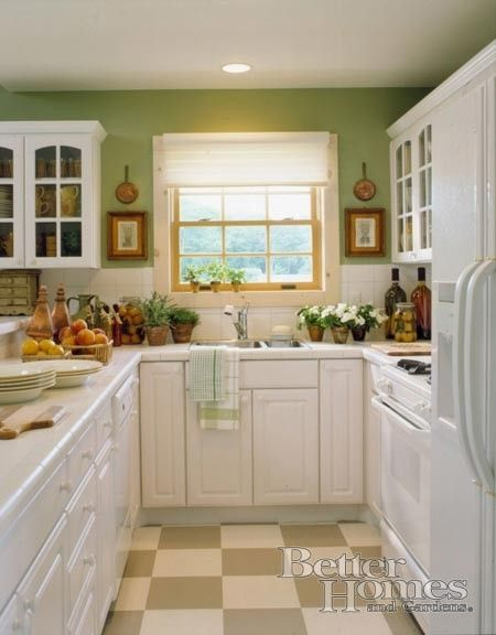 """White Kitchen Green Walls i love this color scheme but i'm not sure it is """"me.""""   kitchen"""