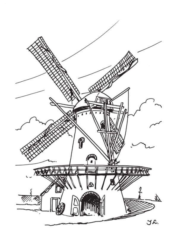 Coloring Page Windmills Windmills Kleurplaten Windmolens