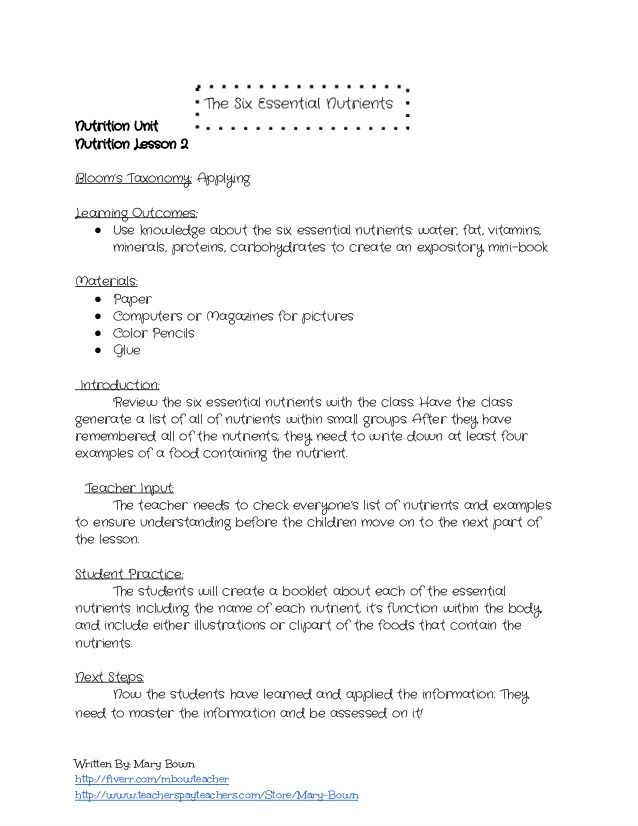 The Six Essential Nutrients Lesson Plan And Worksheet – Lesson Plan Worksheets