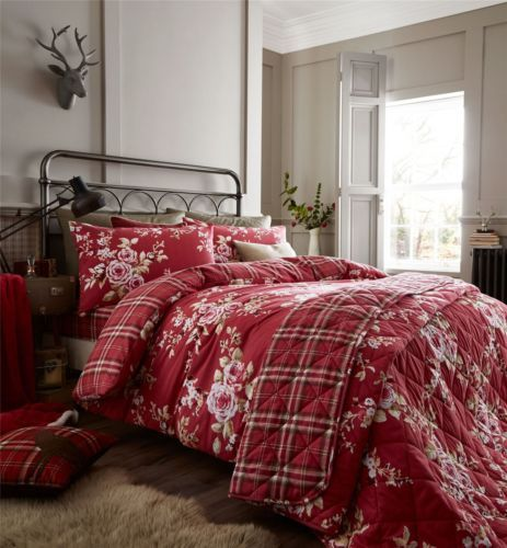 Rose Floral Tartan Plaid Red White 100 Brushed Reversible King Size Duvet Cover Red Duvet Luxury Mattresses Duvet Sets