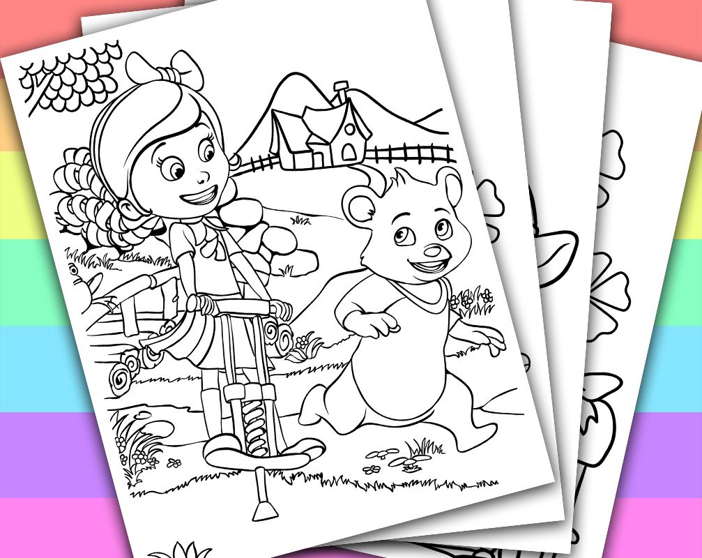 Digital Instant Download Printable Coloring Page This Listing Give You A Series Of 4 Printable Colo Bear Birthday Party Bear Birthday Joint Birthday Parties