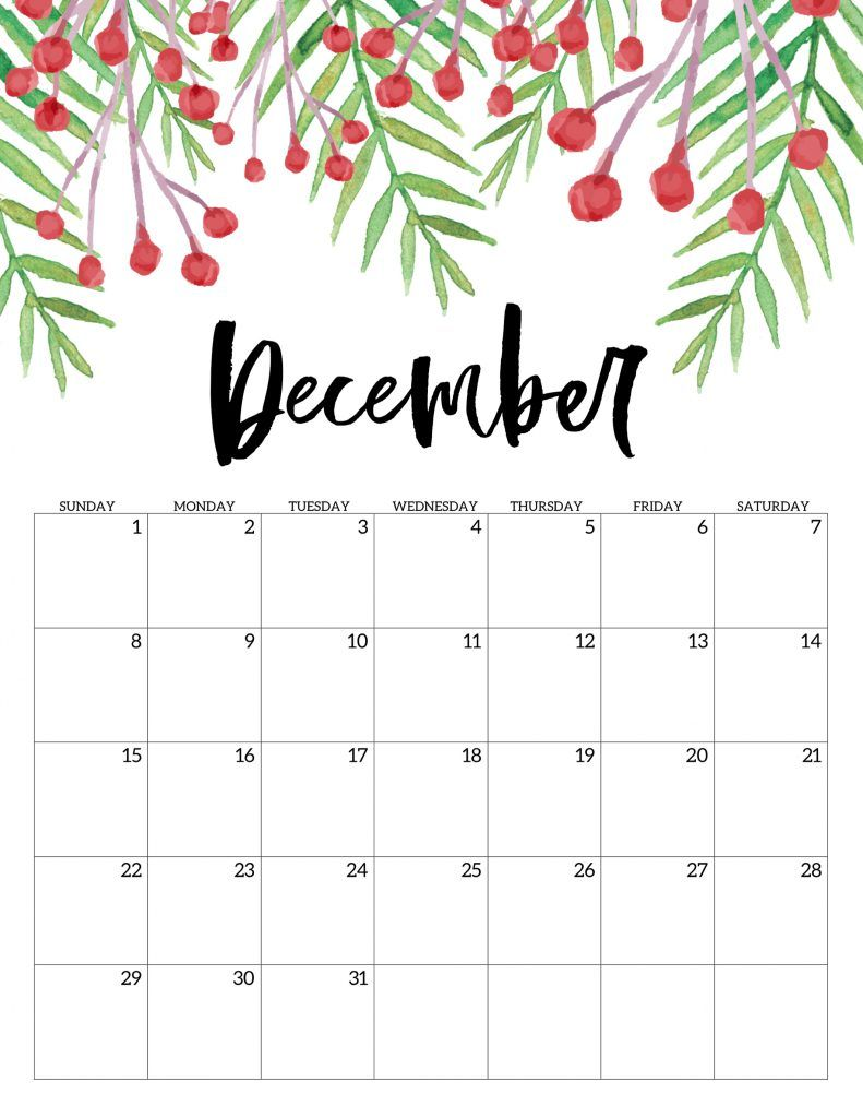 December Free Printable Calendar 2019 - Floral. Watercolor red and green flower design . Pretty calendar to stay organized in style. #papertraildesign #2019calendar #calendar #december #calendar2019 #floralcalendar #decembercalendar