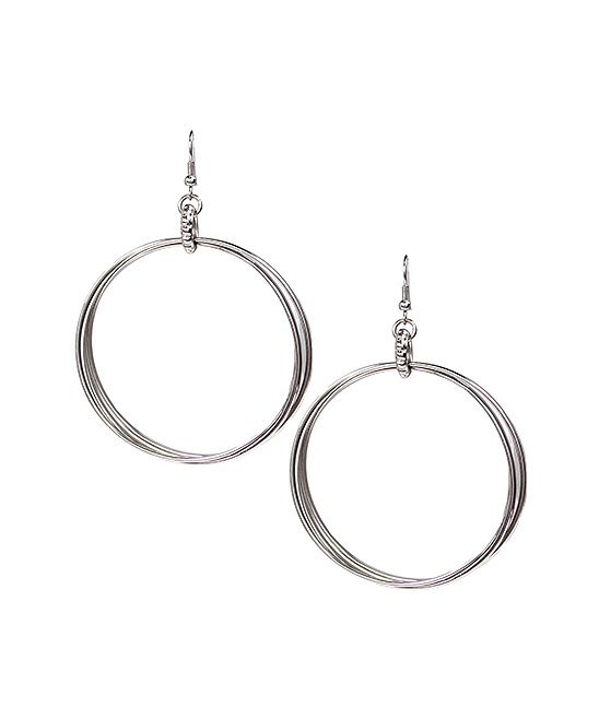 Silvertone Multi Hoop Earrings