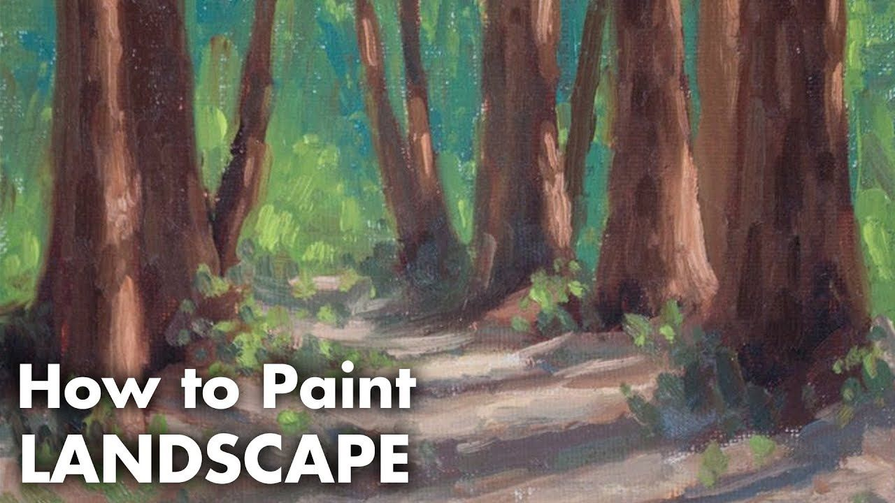 How To Paint Trees In A Sunlit Forest Oil Painting Landscape Tutorial Youtube Oil Painting Landscape Landscape Paintings Painting