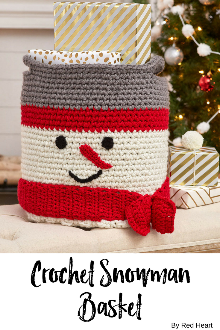 crochet snowman basket free crochet pattern in with love yarn pop a fun basket into your holiday dcor this upbeat snowman basket can add happiness to any - Hakelmutzen Muster