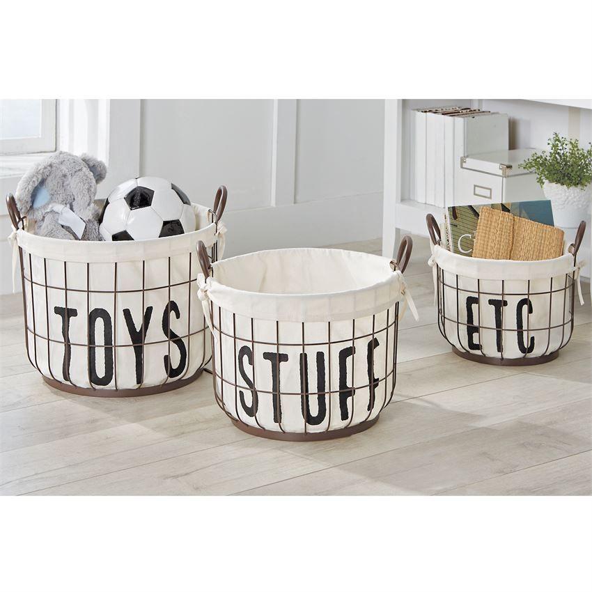 Printed Canvas Wire Toy Basket Set Wire Basket Storage Toy Basket Storage Baskets