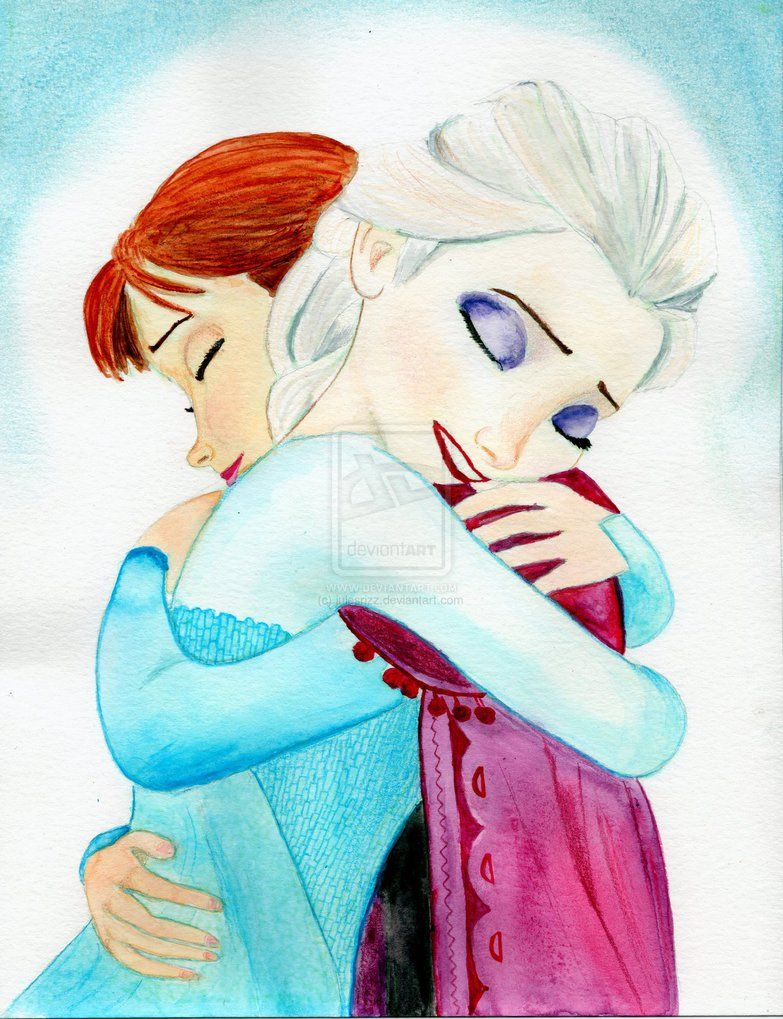 Elsa And Anna Hug Watercolor By Julesrizz On Deviantart Watercolor Disney Disney Princess Art Princess Art