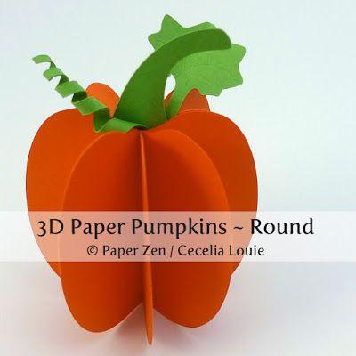 3d pumpkin template printable  6D Paper Pumpkins - Free Patterns | Paper pumpkin, 6d paper ...
