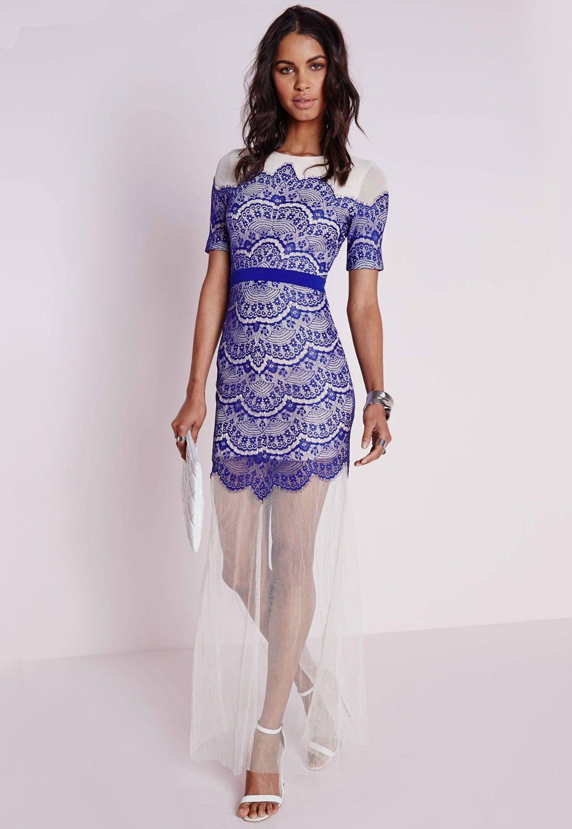 Lace overlay dress maxi