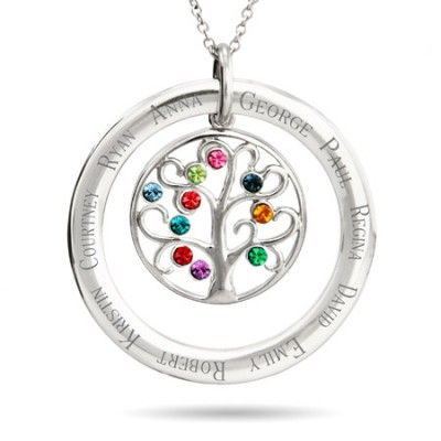 Family Tree Name Necklace With Up To 10 Birthstones Family Tree Necklace Tree Necklace Tree Pendant