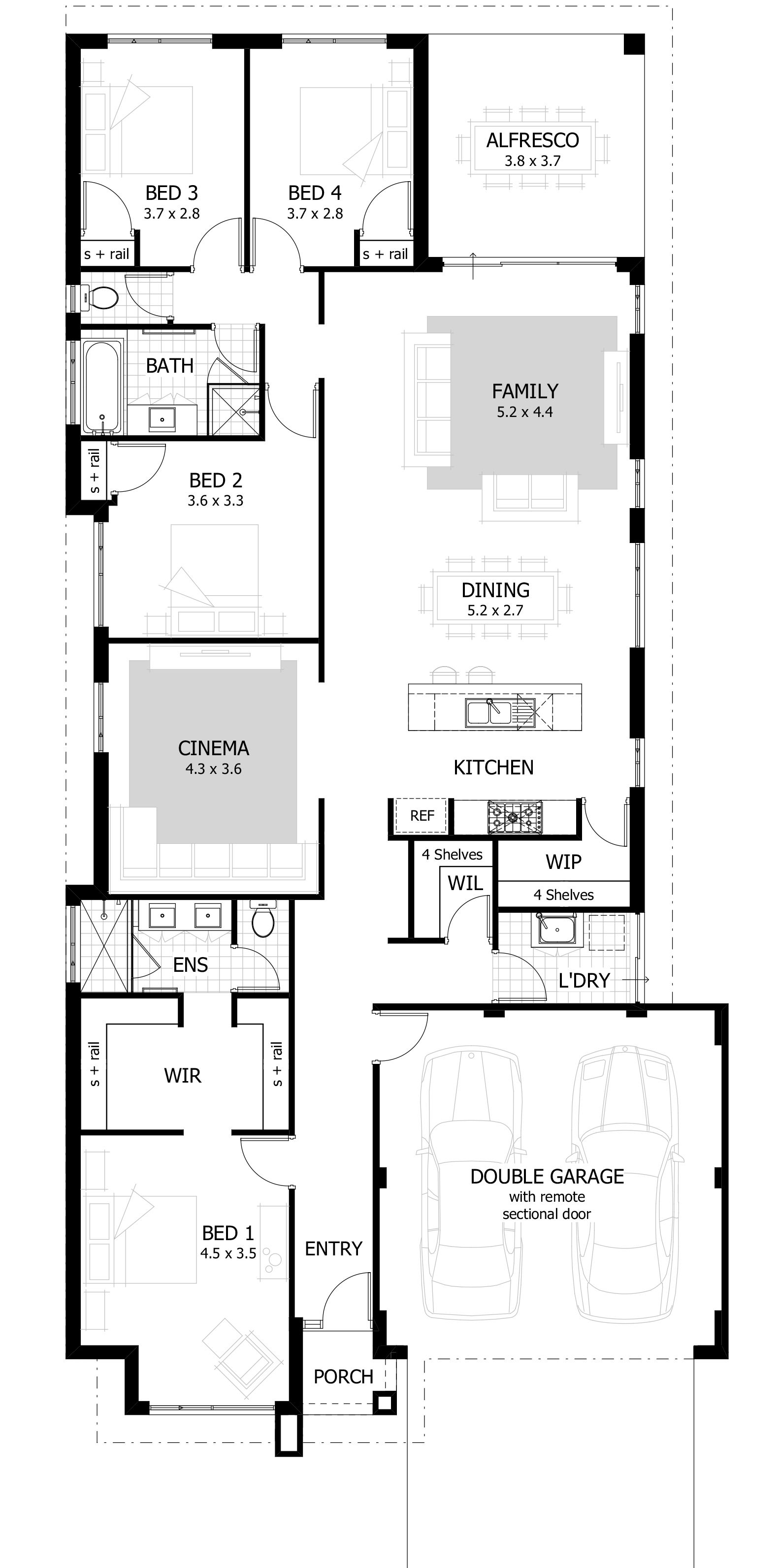 4 Bedroom House Plans & Home Designs | Celebration Homes | Cinema ...