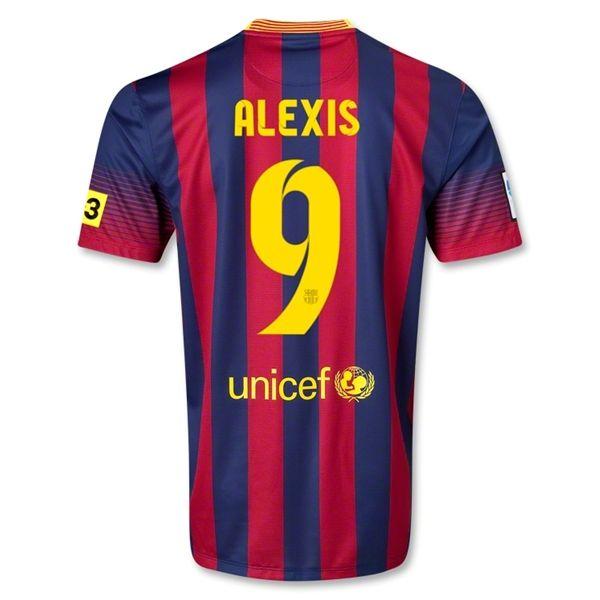 118fd26db 13-14 Barcelona  9 ALEXIS Home Soccer Jersey Shirt