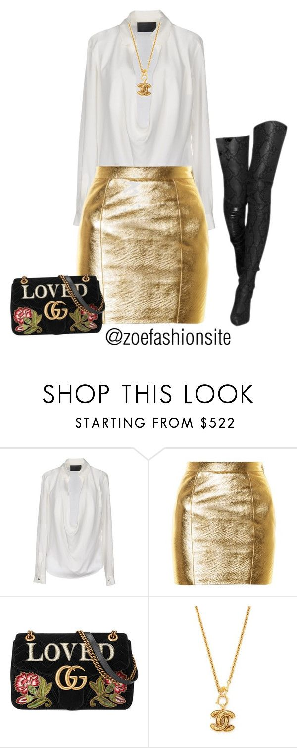 """""""Untitled #469"""" by zoefashionsite on Polyvore featuring Philipp Plein, Yves Saint Laurent and Gucci"""