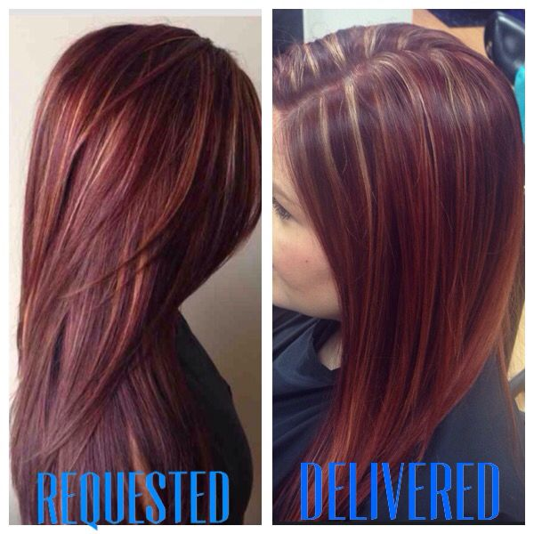 Red/Violet with blonde highlights | My work:) | Pinterest | Blondes ...