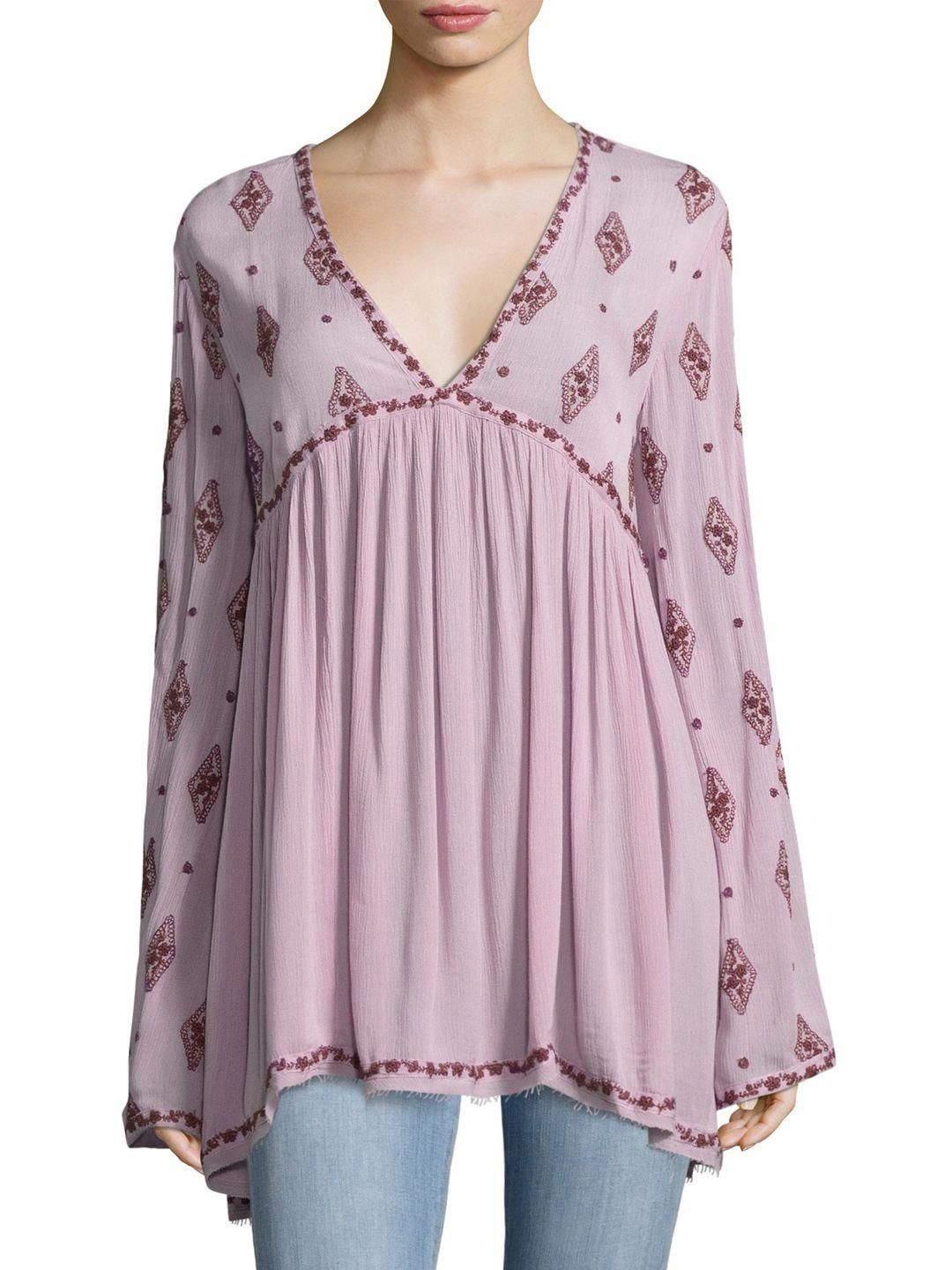 FREE PEOPLE DIAMOND EMBROIDERY BLOUSE freepeople cloth