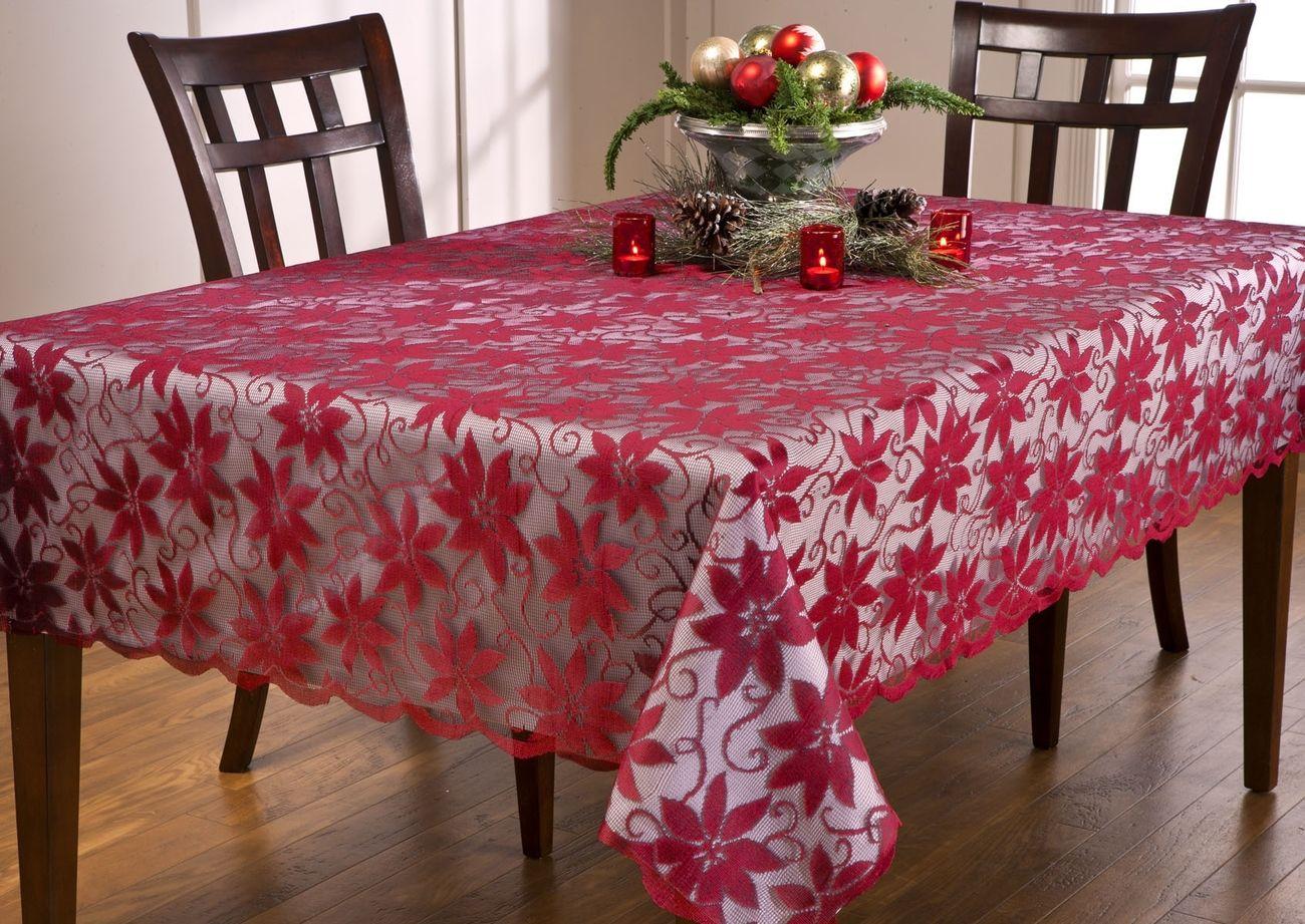 Christmas Red Lace Poinsettias Tablecloth Sz 60 Quot X 104