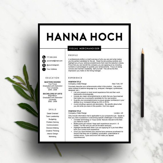 Creative Resume Template for MS Word | 1 Page Resume, 2 Page Resume ...
