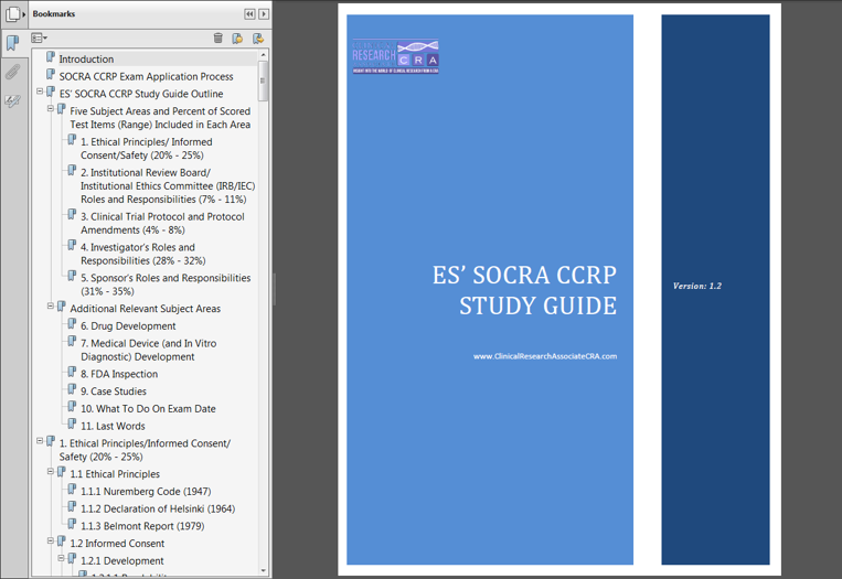 SOCRA CCRP Exam ES' SOCRA CCRP Exam Study Guide A