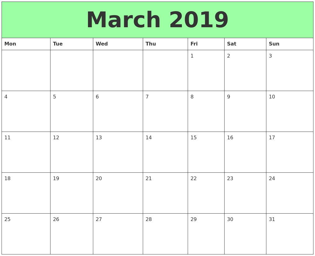 Free March 2019 Printable Calendar Templates Pdf Word Printable