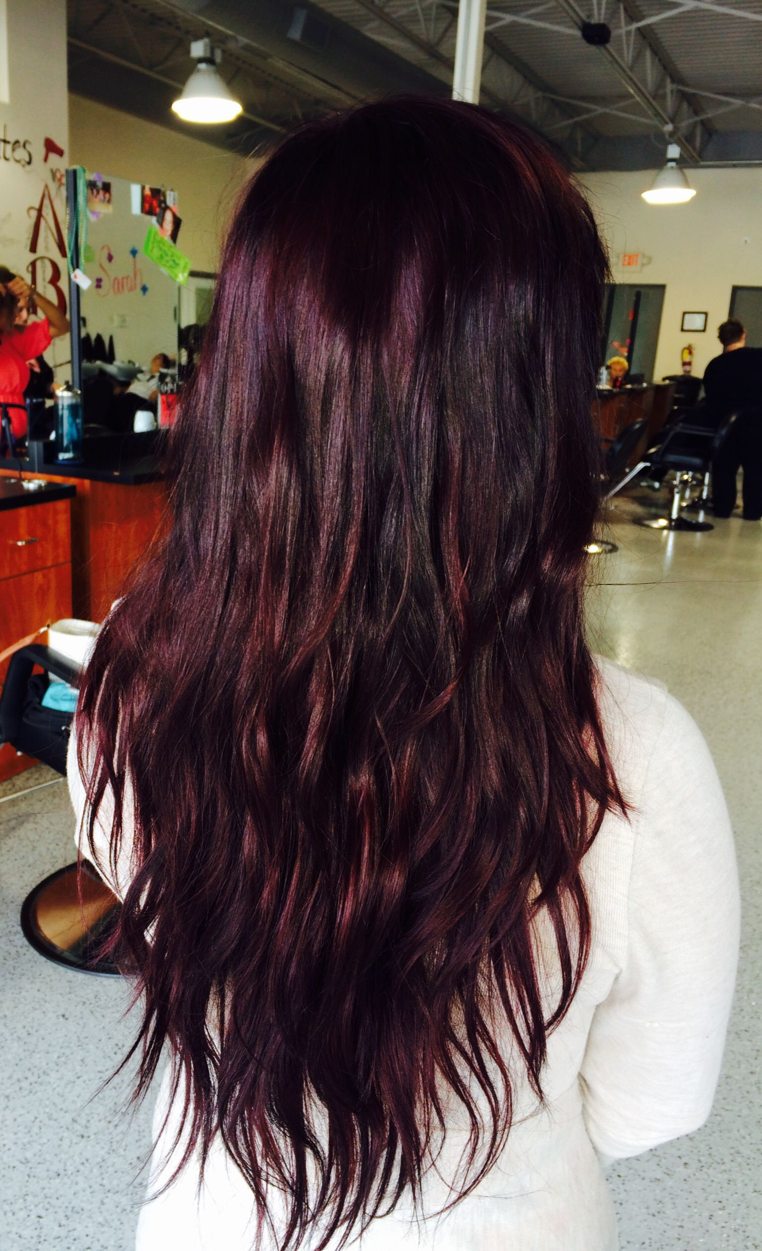 Beautiful black cherry red violet purple hair color