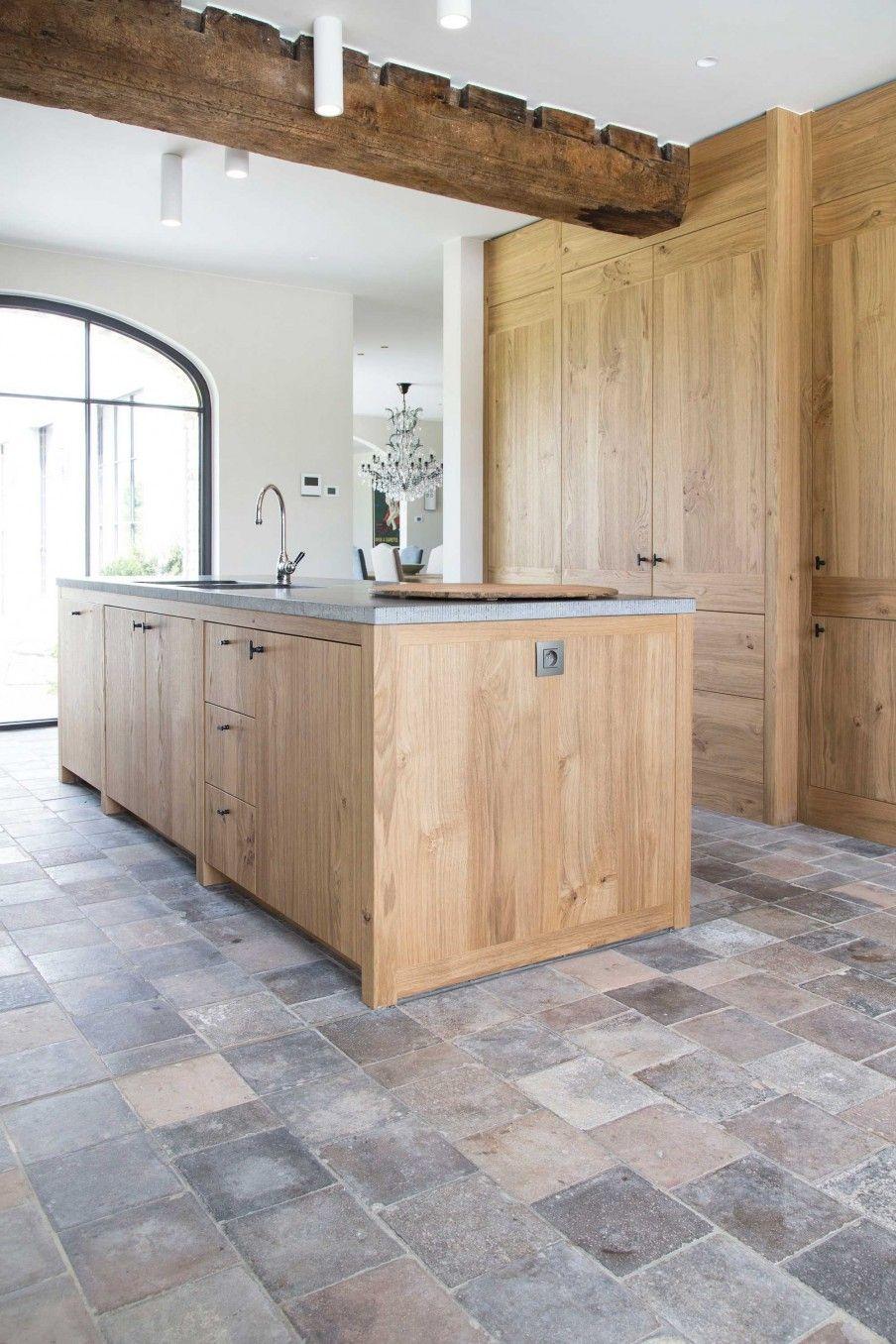 Authentiek Brugs Huis Wonen Landelijke Stijl Keuken Vloertegels Tegelvloer Keuken Keuken Vloeren