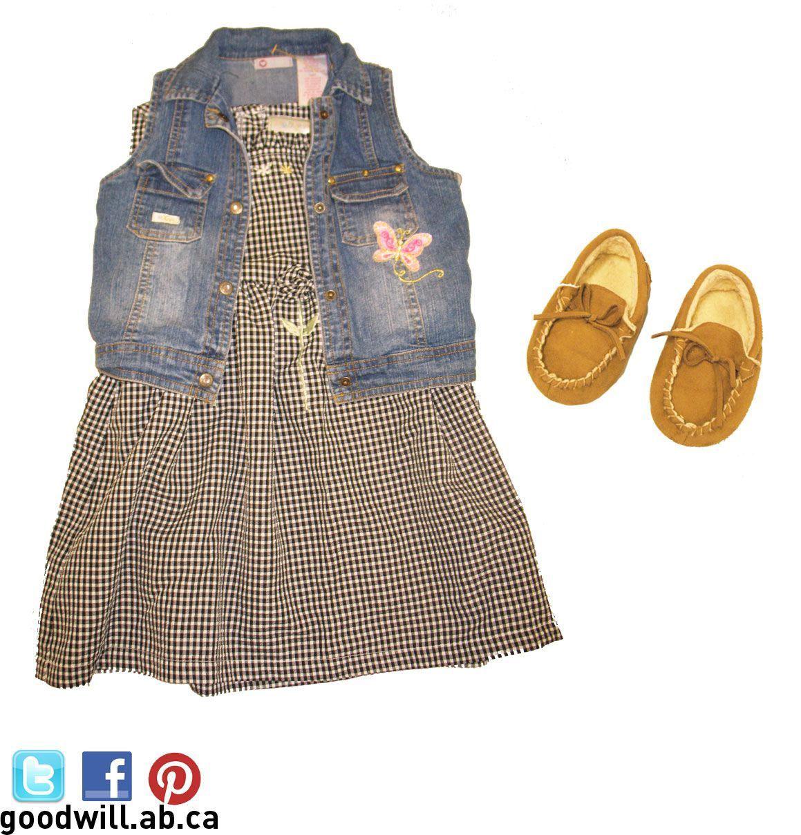 Cute dress, jean vest and moccasins! Love it!