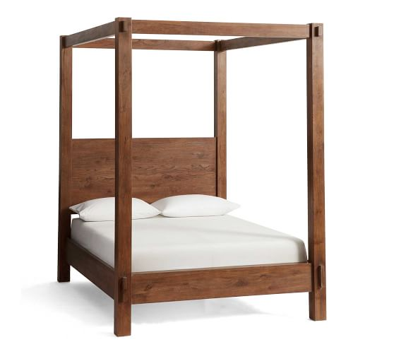 Best Menlo Reclaimed Teak Canopy Bed Bed Frame Simple Bed 640 x 480