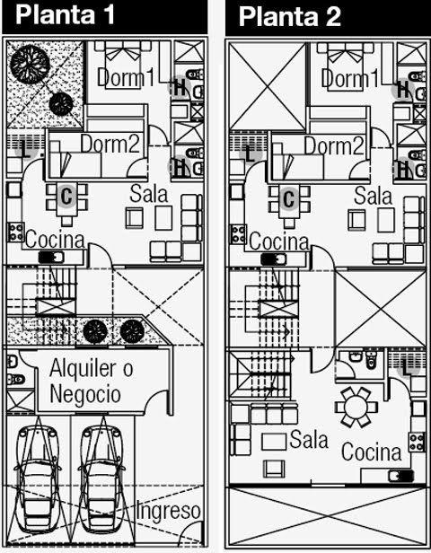 Planos de departamentos y negocio en el primer piso en for Planos de viviendas gratis