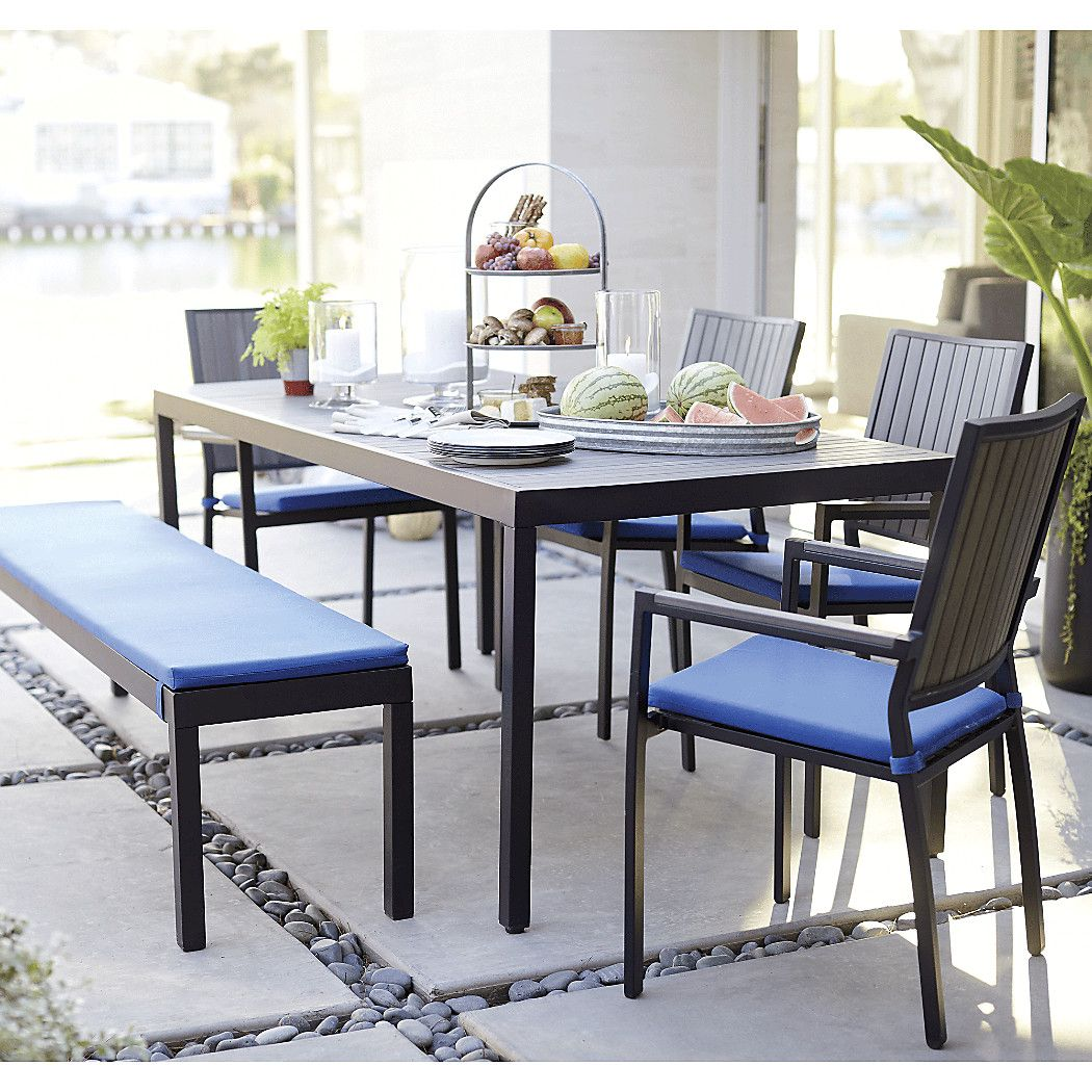 The alfresco grey rectangular outdoor dining table is a crate and