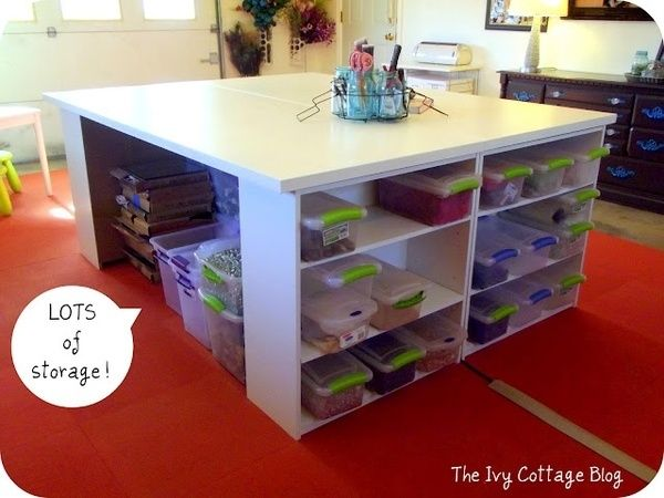 Craft Table And Storage Using Home Depot Hollow Doors And Wal Mart Book Shelves Harmonyjbissell Gitahhp Craft Table Diy Craft Tables With Storage Craft Table
