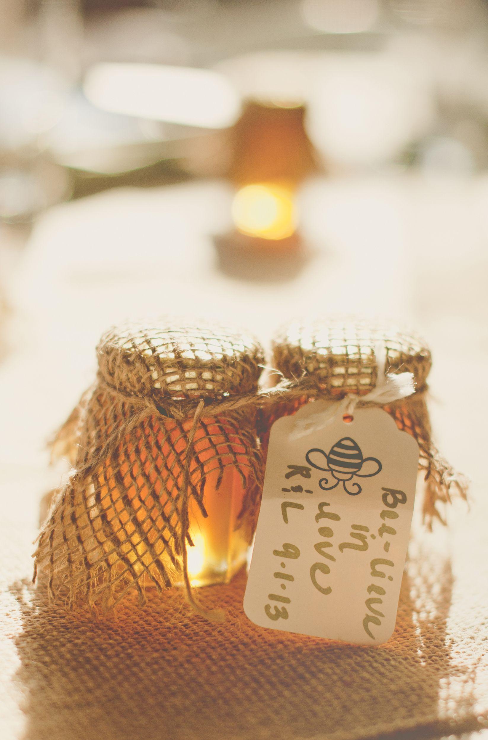 Winnie the Pooh wedding favors - burlap covered honey jars, natural ...