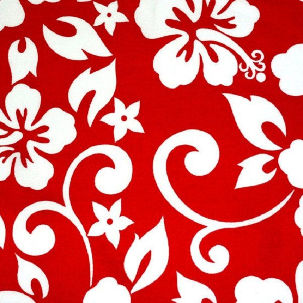 """Fabric, Hibiscus Flowers, Floral Fabric, White on Red Fabric  Five - 6""""  Cotton Fabric Block Quilt Charm  5 Pieces  # 301-358 by AlwaysInStitchesCo on Etsy"""