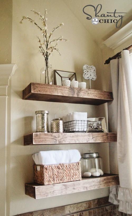Easy Diy Floating Shelves Floating Shelf Tutorial Video Free Plans Bathroom Shelf Decor Rustic Bathroom Shelves Floating Shelves Diy