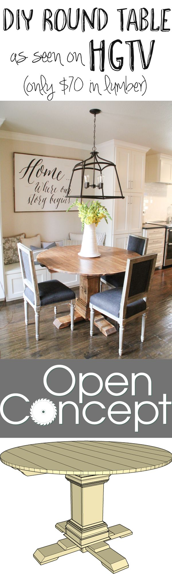 Diy round table as seen on hgtv open concept wall for Diy round farmhouse table plans