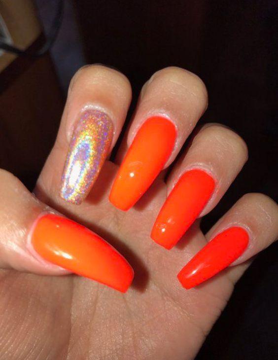 acrylic orange coffin nails design