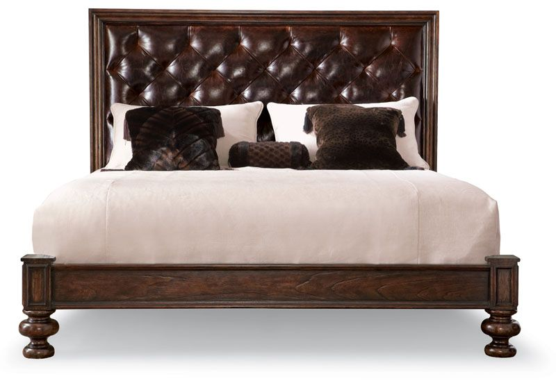 Bernhardt Commonwealth Leather King Upholstered Panel Bed