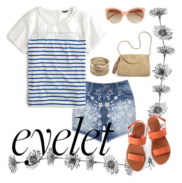 #eyelet #summer #beach by joziee on Polyvore featuring polyvore fashion style J.Crew Mat Mar y Sol Sole Society Linda Farrow clothing