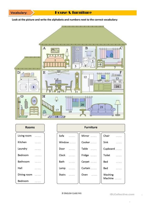 House vocabulary ESL worksheets of the day Pinterest English - new house blueprint esl
