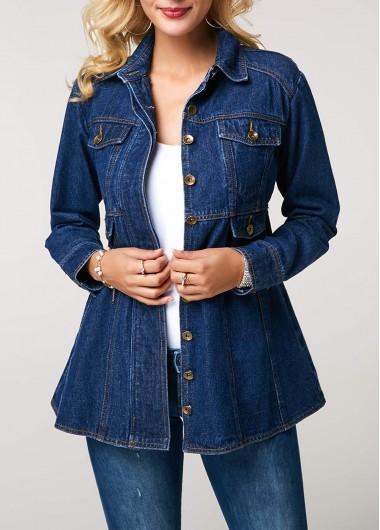 Josherly Womens Plus Size Denim Jacket Cowboy Casual Jeans Coats Outwear Pockets