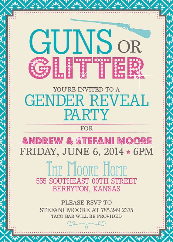 Guns or Glitter Gender Reveal Party Invitations Order your Custom