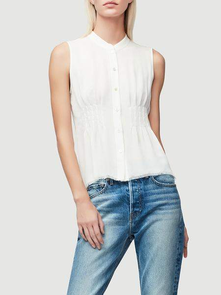 ad8151917ad52 Frame Denim Raw Smocked Sleeveless Silk Blouse Off White