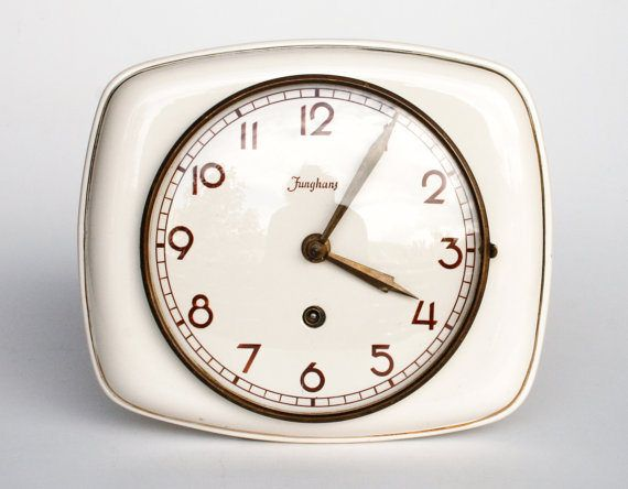1930 S Ceramic Wall Clock By Junghans Made In Germany Wind Up Key Mechanical Mechanism Working Condition White Clock Wall Clock Vintage Clock