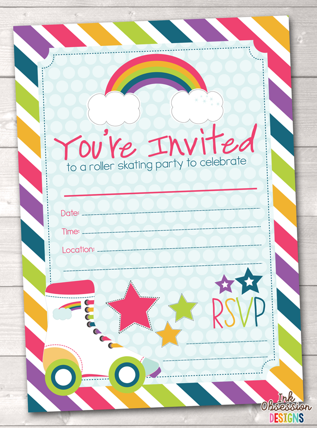 Roller skating party printable birthday party invitation birthday roller skating party printable birthday party invitation instant download printable pdf filmwisefo