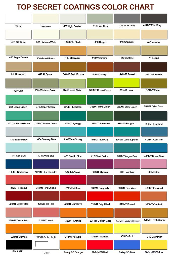 top secret coatings color chart for commercial and residential