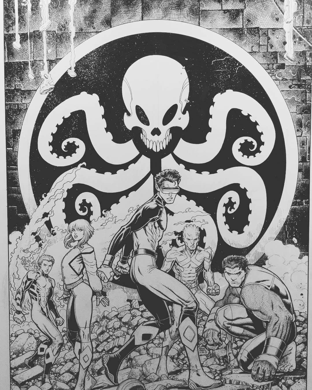 X-Men Blue #7 B+W - Arthur Adams | Marvel Comics Characters