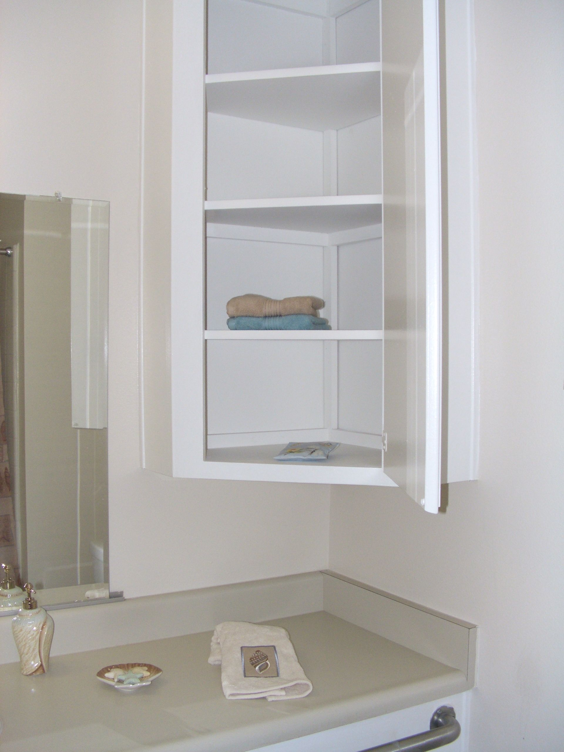Furniture Wall Mounted Bathroom Corner Cabinet With Shelf And