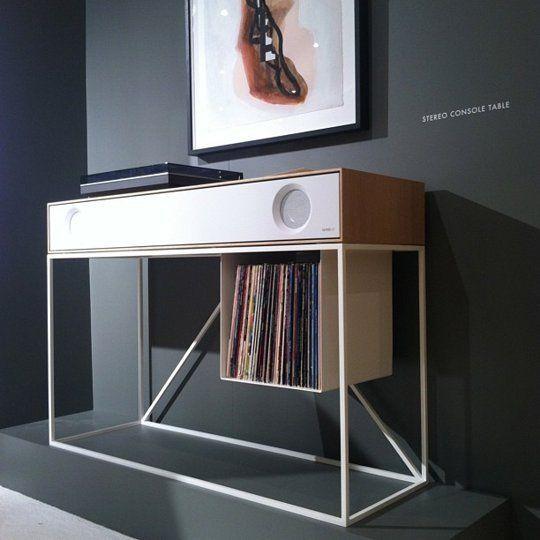 The folded record bureau turntable record shelf for Bureau records