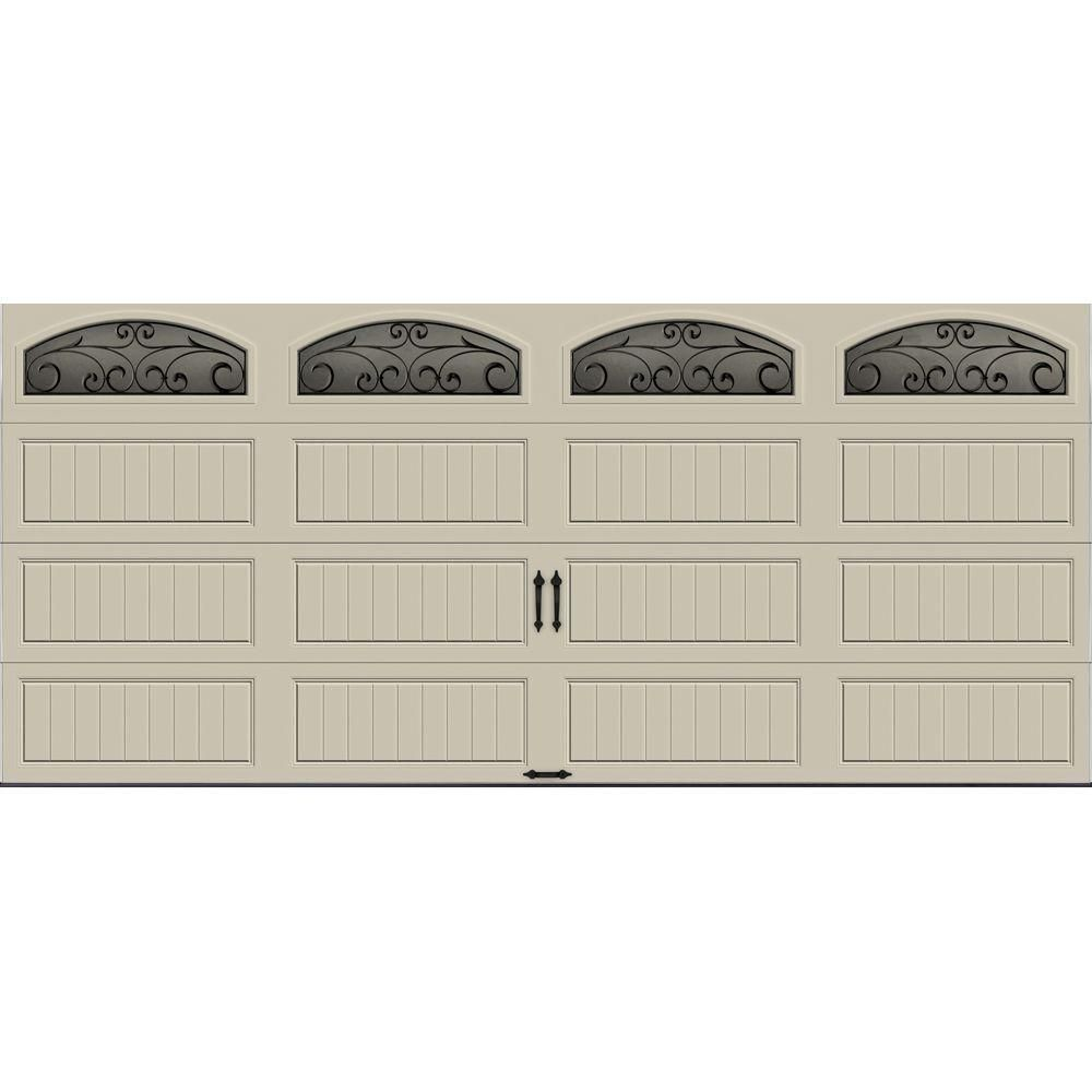 Clopay Gallery Collection 16 Ft X 7 Ft 6 5 R Value Insulated Desert Tan Garage Door With Wrought Iron Window Garage Doors R Value White Garage Doors
