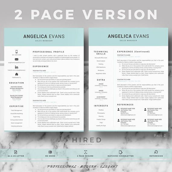 modern professional resume cv template for word 1 2 3 pages