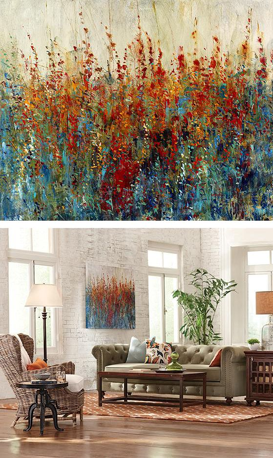 living room wall paintings focal rooms peinture canvas painting modern pieces wildflower patch acrylique decorators artwork walls adding point simple
